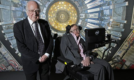 Peter Higgs and Professor Stephen Hawking at the Science Museum in London